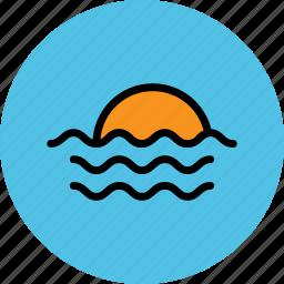 bay, ocean, sea, sun, sun rising, sun set, waves icon