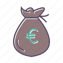 cash, euro, money, sack icon