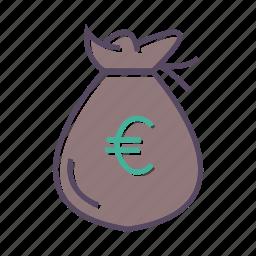 cash, euro, money, sack icon