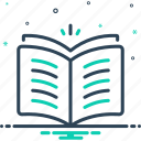 encyclopedia, knowledge, library, magazine, open book, publication, textbook icon