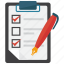checklist, clipboard, note, pen icon