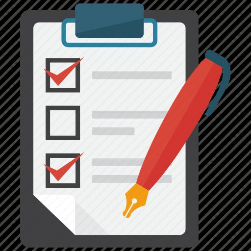 checklist, clipboard, note, pen icon
