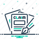 claims, insurance, money, requirement icon
