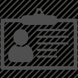 account, contact, identification, portfolio, profile, survey, user icon