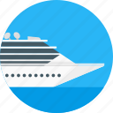 circle, cruiseship, delivery, ship, tourism, transport, travel icon