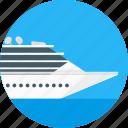 circle, cruiseship, delivery, ship, tourism, transport, travel icon