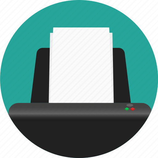 circle, office, paper, print, printer icon