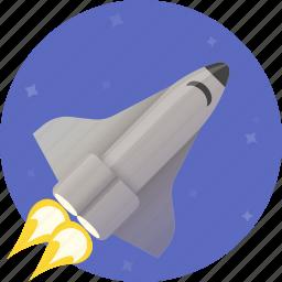 airplane, circle, fast, rocket, shuttle, space, spaceship icon