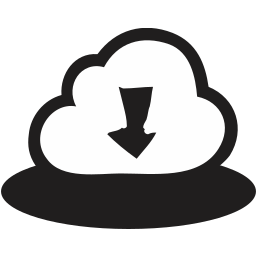arrows, cloud, direction, down, download, handrawn icon