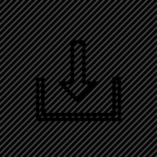 arrow, down, download, internet, outline, web icon