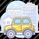 auto, car, city, house icon