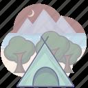 camping, tourism, travel, tree icon