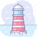 lighthouse, ocean, sea icon
