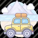 auto, car, clouds, journey, river, tourism, travel, trip icon