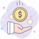 business, earnings, hand, income, money, revenue icon