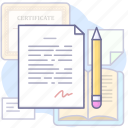 agreement, document, license, pencil icon