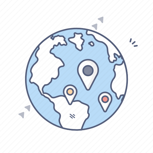 earth, globe, gps, location, navigation icon