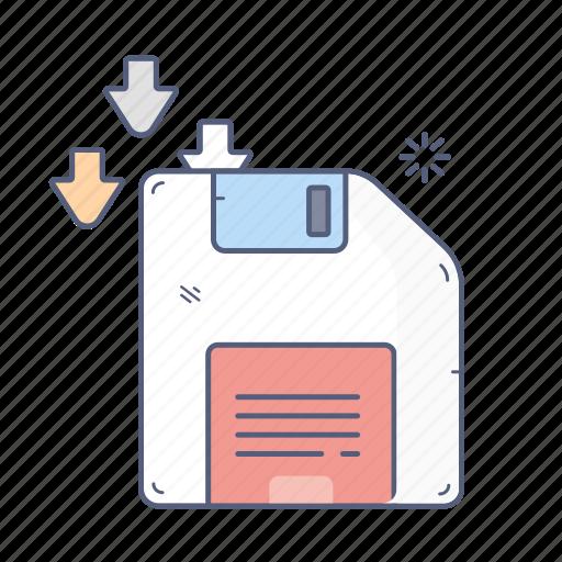 data, download, floppy, save, storage icon