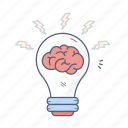 brain, bulb, creative, idea, light icon