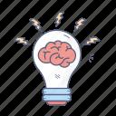 brain, bulb, idea, light, creative