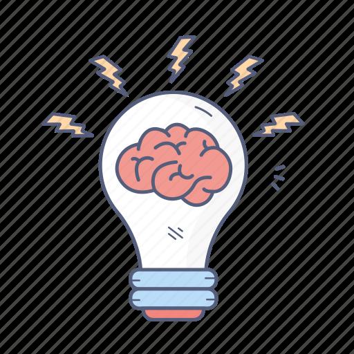 brain, bulb, creative, idea, light icon