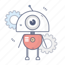 droid, bot, gears, robot icon