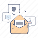 chat, email, like, message, notifications icon