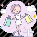 buy, girl, shopping icon