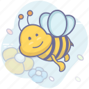 bee, flower, insect icon