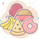 bread, foods, fruit, meat icon