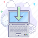 computer, download, laptop icon