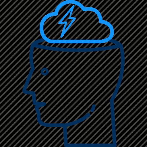 brain, brainstorming, head, human, man, person, thinking icon