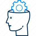 brain, gear, head, idea, intelligence, process, settings icon