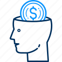 brain, business, dollar, finance, mind, money icon