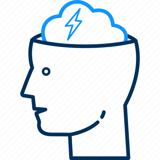 brain, creativity, human, light, mind, storm, user icon