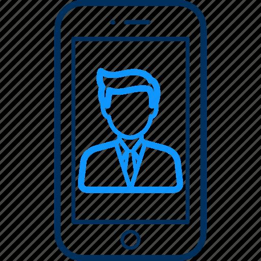 Mobile, boy, man, profile, person, smartphone, people icon