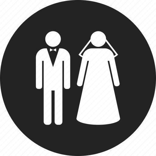 bride, couple, groom, wedding icon