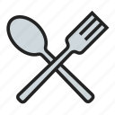 and, fork, meal, spoon icon