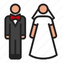 bride, groom, wedding icon