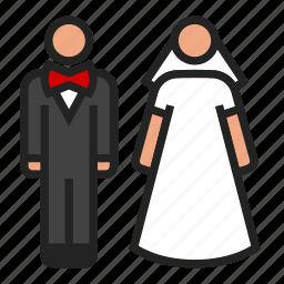 bride, groom, wedding icon