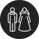 bride, couple, groom, wedding icon