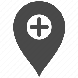 address, location, map, place, plus icon