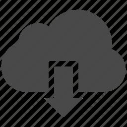 arrow, cloud, clouds, download icon