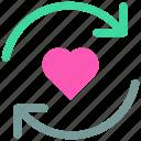 arrow, favorite, heart, like, loading, love icon icon