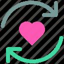arrow, favorite, heart, like, loading, love icon