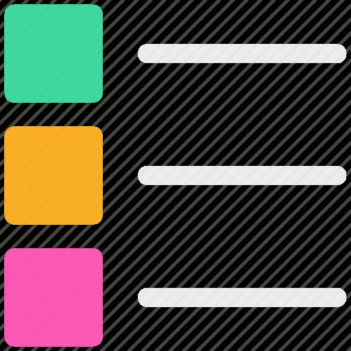content, ⦁ list, ⦁ text, ⦁ thumbnails, ⦁ view, ⦁ view modeicon icon