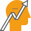 analytics, business, chart, growth, mind, thinking icon