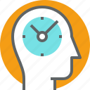control, head, human, mind, thinking, time control icon