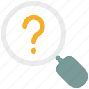common answers, faq, ⦁ common questions, ⦁ magnifier, ⦁ question mark icon icon