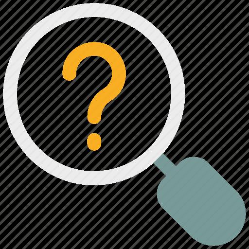 common answers, faq, ⦁ common questions, ⦁ magnifier, ⦁ question markicon icon